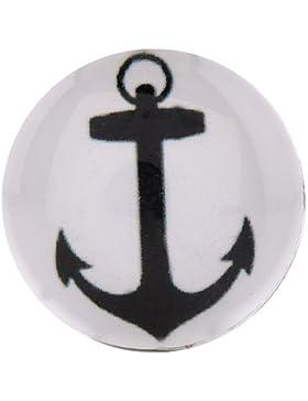 Morella Unisex Glas Click-Button Druckknopf Anker schwarz weiß