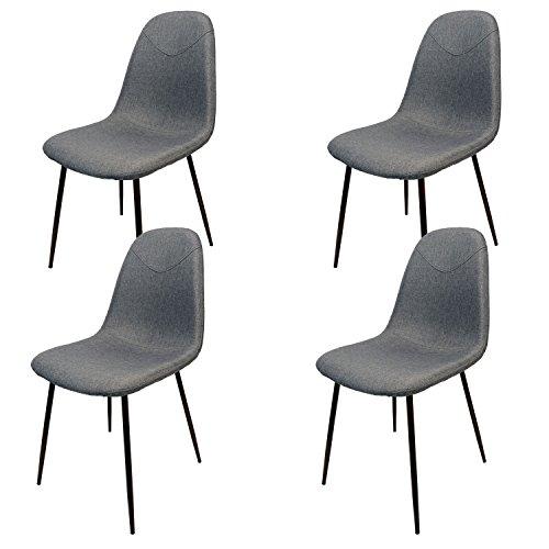 MIKU Schalenstuhl 4er-Set Bristol hellgrau Stuhl Sitzschale Esszimmerstuhl Lehnenstuhl (4 x Bristol hellgrau)