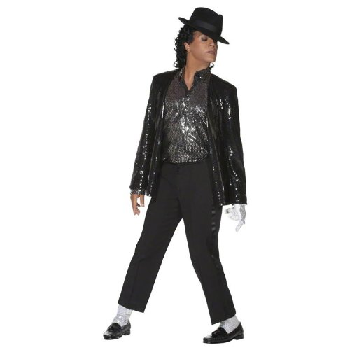 Michael Jackson Billie Jean Costume.The pop legend is best-remembered for his mega-selling 80s Thriller album, and in this costume you'll be doing the moonwalk in no time!