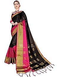 Naari Vastram Women's Cotton Silk Multi Coloured Striped Saree With Blouse Piece
