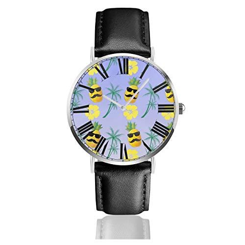 PecoStar Ananas mit Sonnenbrille und Schnurrbart, luxuriöse Quarzuhr mit Zifferblatt, Analog-Anzeige und Lederarmband, klassisches Design, wasserdichte Armbanduhr
