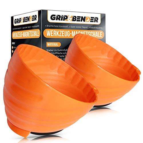 2 Stück GRIP&BENDER Profi Werkstatt-Magnetschale | Magnetische Werkzeugschale aus bruchsicherem Kunststoff | Orange | Robust & Leicht | Schrauben sammeln an KFZ-Hebebühne