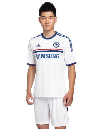 adidas Herren kurzärmliges Trikot Chealsea FC Away Jersey, Wht/Drkblu, L, Z27645 (Adidas Chelsea Replica Away Trikot)