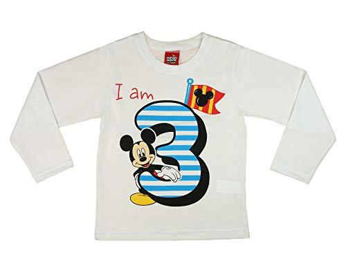 Jungen Baby Kinder 3. erster Geburtstag Langarm T-Shirt 3 Jahre Baumwolle Birthday Outfit GRÖSSE 98 104 Mickey Mouse Disney Weiss Blau Babyshirt Oberteil Hemd Polo Farbe Blau, Größe 104 (Kleine Jungen Kleid Shirt Blau)