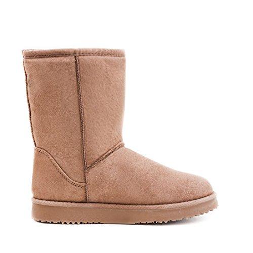 Damen Basic Schlupf Winter Schnee Boots Stiefel Stiefeletten mit Kunstfell warm gefüttert Khaki