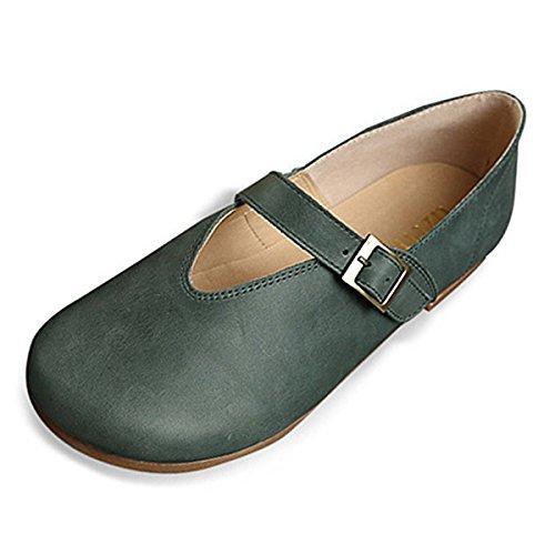 Gracosy Mocassini da Donna Scarpe, Slip On Loafer Scarpe da Barca Piatte Sandali da Donna Colore Puro Retrò Casual Scarpe da Camminata Scarpe da Guida allaperto Piatte Verde