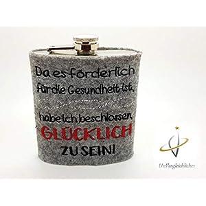 Edelstahl-Flachmann 200 ml, Schnapsflasche, glücklich sein, Frauenflachmann, Geschenk Weihnachten