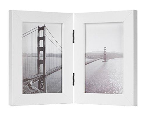 frametory, 10,2x 15,2cm aufklappbaren Bilderrahmen mit Glas Front-Made To Display Zwei 10,2x 15,2cm Bilder, steht Vertikal auf Desktop oder Tisch Top, glas, weiß, 4 x 6 Dual -