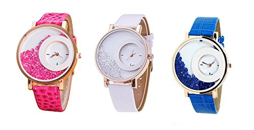 Om Designer Analogue Diamond White Dial Watch for Girls and Women Pack Of 2 (New Design-01) (Pink-White-Blue)