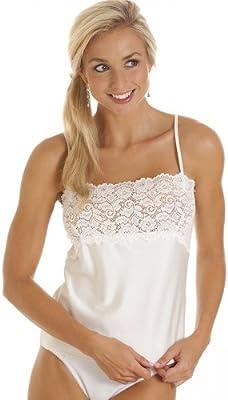 Camiseta interior para mujer - Cenefa de encaje - Tallas 38-50 - Marfil