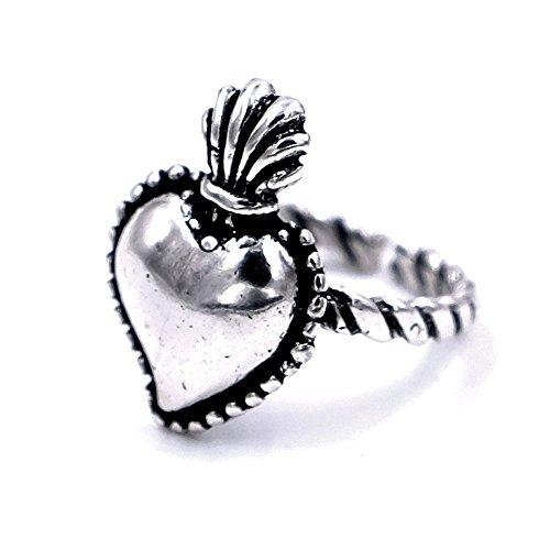 Anello sacro cuore in argento 800