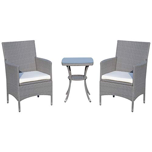 Outsunny Gartensitzgruppe 3-TLG. Polyrattan Gartenset Gartengarnitur Rattanmöbel Polyrattan + Metall Grau 2 x Sessel 1 x Beistelltisch mit Sitzkissen -