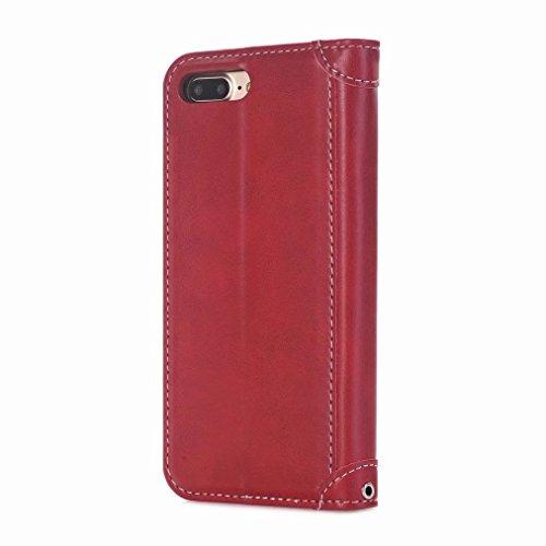 Yiizy handyhülle Apple IPhone 7 / IPhone 8 hülle, Geschäft Tasche Leder Schutzhülle PU Ledertasche Bumper Schutz Flip Cover Case Magnet Beutel Klappe Silikon Gummi huelle Schale Stehen Kartenhalter St Rot