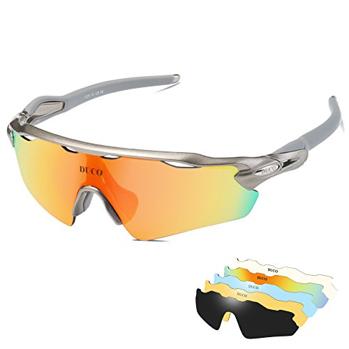 DUCO Polarised Sports Mens Sunglasses for Ski Driving Golf Running Cycling Tr90 Superlight Frame With 5 Interchangeable Lenses 0028