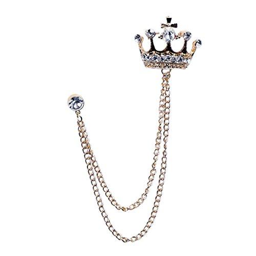 Baoblaze Krone Design Kristall Strass Brosche Anstecker Kragen Pin für Damen Frauen Mädchen