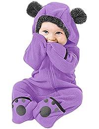 Body recién nacidoInfant Baby Girls Boys Solid Cartoon Fleece Ears Sudadera con Capucha Romper Clothes Jumpsuit