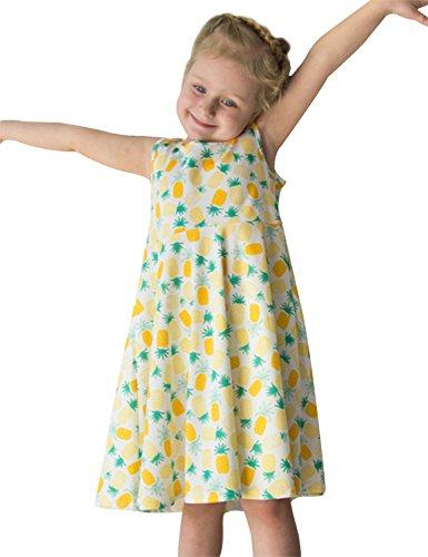 Chicolife kausale Mädchen ärmellose Sommerkleid für tägliche Abnutzung Schule tragen Ananas (Ananas Kleid)