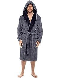 Para hombre Tom Franks Muy suave Shaggy con capucha forro polar albornoz bata