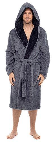Herren Tom Franks superweicher Kapuzenbademantel mit Kuschelfleece, Nachtmantel Grau