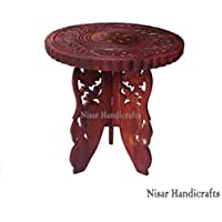 Nisar Handicrafts Sheesham Wooden Corner Bedside End Table for Living Room   Brown   Size- 12x12x12 LxBxH (Inches)