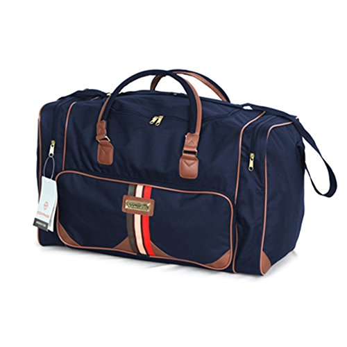 Fashion Essentials-PU Assetto sezione con due laterali con zip tasche cargo Borsone Duffle Bag (navy) navy