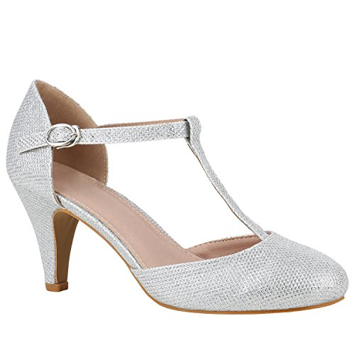 Damen Schuhe Pumps Mary Janes Blockabsatz High Heels T-Strap 156188 Silber T-Strap 39 ()
