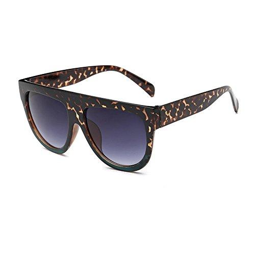 Dodo Shadow Shield Fliegersonnenbrille, flacher oberer Rand, sehr groß, Leopardenmuster, Blau