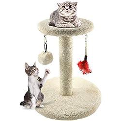 Zubita Árbol para Gatos Arañazo Gatos Juguetes de Sisal Natural, Cat Toy centro de Actividad para Gatitos, Color Beige, 28*28*29 CM Gato rascador