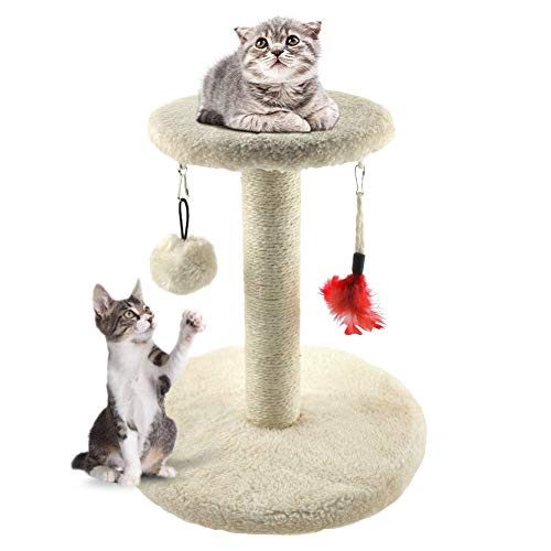 Kratzbaum Zubita Katze Kletterbaum mit Katzenspielzeug Katzenkratzbaum Plüsch Spielzeug Kratzsäule Katzentreppe für Katzen Kätzchen