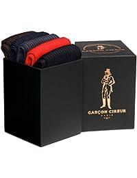 5 paires de chaussettes 100% fil d'Ecosse, Noir, Marron, Marine, Gris, Rouge + Coffret