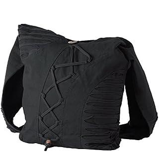 Vishes Alternative Bekleidung - Yogitasche aus Baumwolle mit Cutwork und Schnüren schwarz
