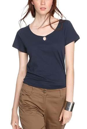 s.Oliver Damen T-Shirt 14.405.32.7960, Einfarbig, Gr. 46, Blau (eclipse blue 5884)