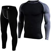 FIT NATION Thermal Underwear Set: Long Sleeve Breathable Base Layer Set for Men - Moisture Wicking, Lightweight and Comfortable for Outdoor Winter Activities including Skiing, Hiking and Snowboarding