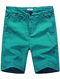 6a6bcc4dba basadina Boys Shorts Summer Chino Cotton Beach Shorts Fitted with Adjustable  Waist,3-13