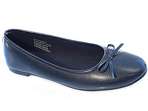 Ladies ELLA Faux Leather Slip On Bow Flat Dolly Ballet Pumps Ballerina Office Work School Shoes 3-8 (UK 4, Black)