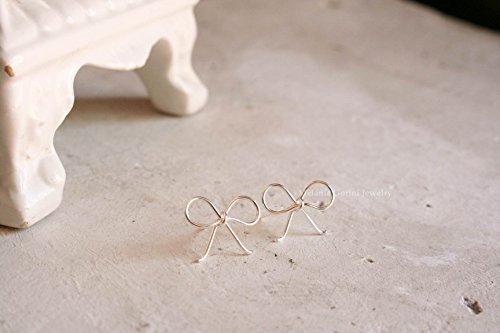 Orecchini BOW in argento 925 con perno e farfallina, orecchini a bottone minimal chic a (Cameo Bow)