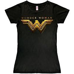 Logoshirt DC Comics - Pelicula - Wonder Woman Movie Logo Camiseta para Mujer - Negro - Diseño Original con Licencia, Talla M