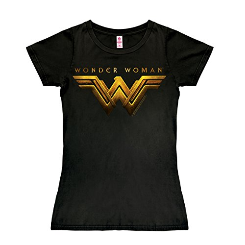 Wonder T Kostüme Woman Shirt Mädchen (DC Comics - Superheldin - Film - Wonder Woman Movie Logo T-Shirt Damen - schwarz - Lizenziertes Originaldesign - LOGOSHIRT, Größe)