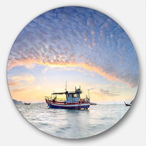 designart Angeln Boot am Phuket Sunrise Beach Modern Seascape Metall Wand Kunst, (Disc von 38), 96,5x 96,5cm blau/orange