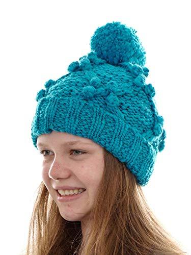 O`Neill Beanie Strickmütze Kopfbedeckung Santa Ana blau Bommel Bund (M)