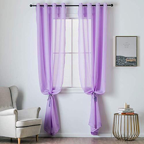 Lelestar tende 2 pannelli trasparenti in voile con occhielli morbidi finestre per camera da letto e soggiorno (viola chiaro, 140x245, con occhielli)