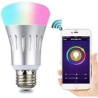 مصباح إضاءة واي فاي E27 الذكي 7 وات RGB متعدد الألوان أضواء لمبة LED تعمل مع الهاتف الذكي أليكسا جوجل هوم مع زر مؤقت وضع المشهد وظيفة التحكم عن بعد