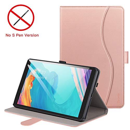 ZtotopCase Hülle für Samsung Galaxy Tab A 8.0 Zoll 2019 SM-T290/SM-T295 (Keine S Pen-Version) Leder Geschäftshülle mit Ständer,Kartensteckplatz Mehrfachwinkel,Roségold