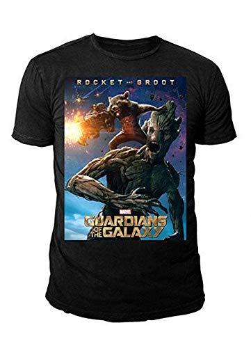 Yondu Kostüm - Marvel Comics - Guardians of the Galaxy Herren T-Shirt - Rocket & Groot Plakat (Schwarz) (S-XL) (S)