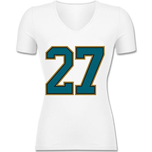 American Football - Football Jacksonville 27 - XS - Weiß - F281N - Tailliertes T-Shirt mit V-Ausschnitt für Frauen (Damen Jaguars-football-t-shirt Weißen)
