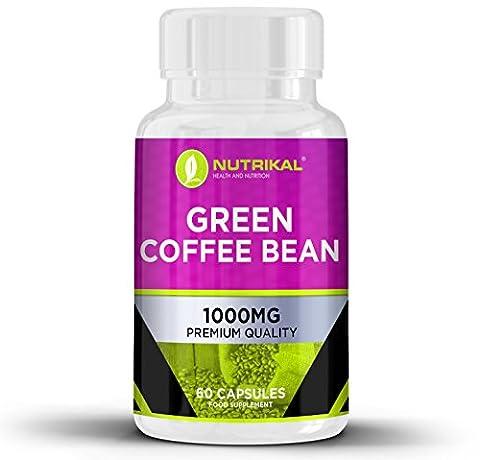 Green Coffee Bean Extract von Nutrikal - Reine Premium-Diätpillen für Gewichtsverlust und Fettverbrennung - 2000 mg pro Tag - 60 Kapseln