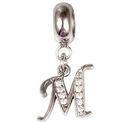 Charm-Anhänger mit Buchstaben-Anhänger, 925 Sterlingsilber, Buchstabe L, für Pandora-Charm-Armbänder M (Pandora M Charms)