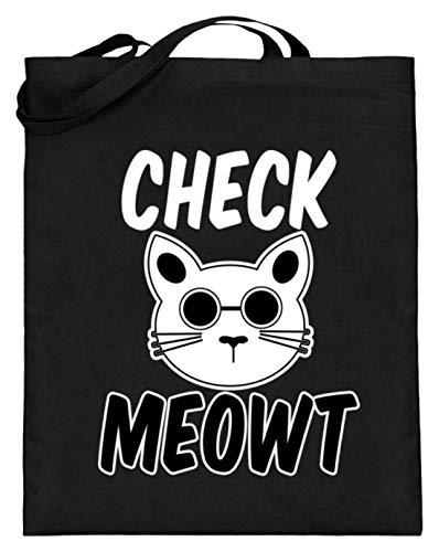 Check Meowt! Für die coolen Katzenliebhaber unter uns! Sonnenbrille Mauz - Jutebeutel (mit langen Henkeln) -38cm-42cm-Schwarz
