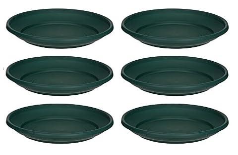 6 x Green Plastic Plant Pot Saucer 32cm Saucer