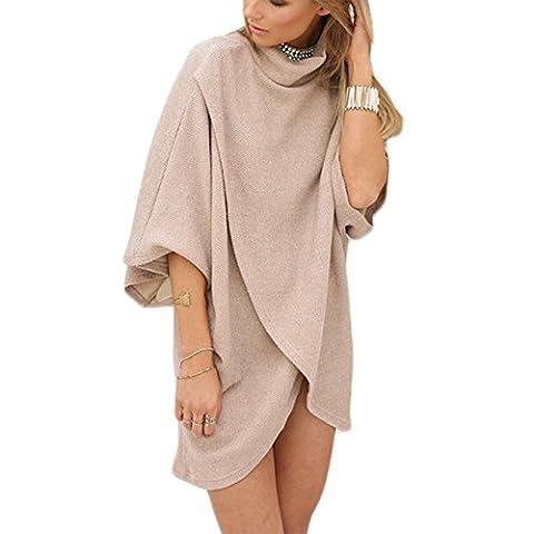 Damen T-shirt Blusen Volltonfarbe Irregular 3/4-Arm Hohe-Ausschnitt Frauen Minikleid Oberteile Tops (XXL, Apricot)